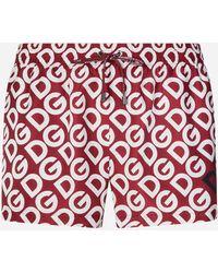 Dolce & Gabbana Boxer Da Mare Corto Stampa Dg Logo - Rosso