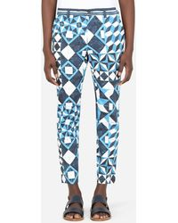 Dolce & Gabbana - Stretch Cotton Pants With Majolica Print And Dg Patch - Lyst