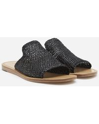 Dolce & Gabbana Braided Raffia Sliders - Black