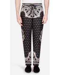 Dolce & Gabbana Pantalone Pigiama Stampa Bandana - Nero