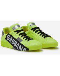 Dolce & Gabbana Portofino Sneakers In Fluorescent Nylon With Logotape - Amarillo