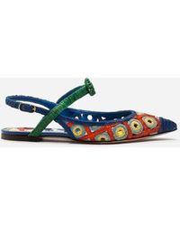 Dolce & Gabbana - Crocheted Raffia And Patent Leather Slingbacks - Lyst