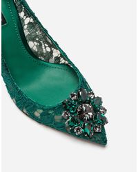 Dolce & Gabbana Pump In Taormina Lace With Crystals - Grün