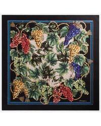 Dolce & Gabbana Twill Foulard With Grape Print: 90 X 90cm- 35 X 35 Inches - Multicolor