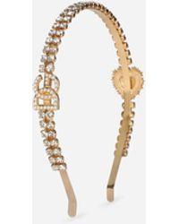Dolce & Gabbana Headband With Dg Logo And Sacred Heart - Metallic