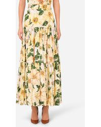 Dolce & Gabbana Long Camellia-Print Poplin Skirt - Multicolore
