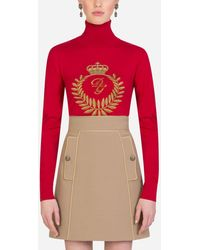 Dolce & Gabbana Wool Turtle-Neck Sweater With Intarsia - Rosso