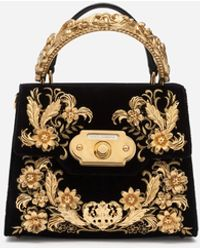 Dolce & Gabbana Mittelgrosse Welcome Tasche Aus Samt Mit Barock-Stickerei - Schwarz