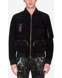 Dolce & Gabbana Velvet Coat With Multiple Pockets - Schwarz