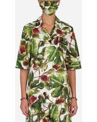 Dolce & Gabbana Fig-print Pyjama Set With Matching Face Mask - Green