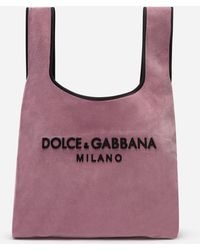 e9209800f299 Dolce & Gabbana - Market Shopping Shoulder Bag In Velvet With Rubber Logo -  Lyst