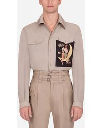 Dolce & Gabbana Hemd Mit Pin-Up-Patch - Natur