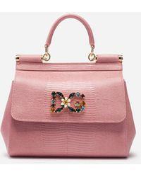 Dolce & Gabbana Small Sicily Handbag In Iguana Print Calfskin With Dg Logo Crystals - Rosa