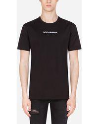 Dolce & Gabbana Camiseta De Algodón Con Bordado Dolce&Gabbana - Negro