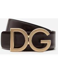 Dolce & Gabbana Calfskin Belt With Dg Logo - Brown