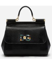 Dolce & Gabbana Medium Calfskin Sicily Bag With Iguana Print And Dg Crystal Logo Patch - Negro