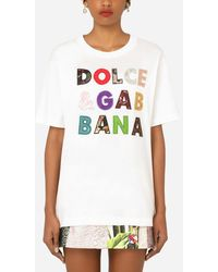 Dolce & Gabbana Short-sleeved Jersey T-shirt With Patchwork Embellishment - White