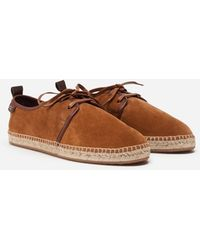 Dolce & Gabbana Suede Lace-Up Espadrilles With Rope Sole - Marrone
