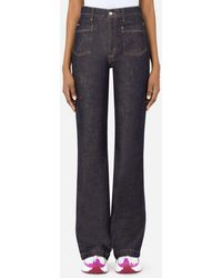 Dolce & Gabbana Flared Jeans With Tobacco-colored Stitching - Blue