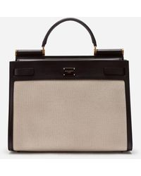Dolce & Gabbana Big Sicily 62 Bag In Canvas And Cowhide - Neutro