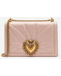 Dolce & Gabbana Large Devotion Bag In Quilted Nappa Leather - Pink