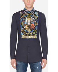 Dolce & Gabbana Bedrucktes Gold-Smokinghemd Aus Baumwolle Und Seide - Blau