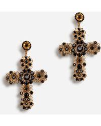 Dolce & Gabbana Clip-on Pendant Earrings With Cross - Metallic