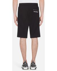 Dolce & Gabbana Cotton Bermuda jogging Shorts With Embroidery - Black
