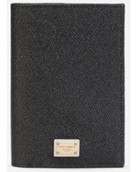 Dolce & Gabbana Dauphine Calfskin Passport Holder With Plate - Black