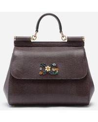 Dolce & Gabbana Medium Iguana Print Calfskin Sicily Bag With Crystal Dg Logo Patch - Grau