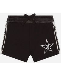 Dolce & Gabbana Interlock Bermuda JOGGING Shorts With Dg Star - Black