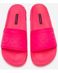 Dolce & Gabbana Fluorescent Rubber Beachwear Sliders With D&G Logo - Rosa