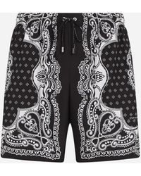 Dolce & Gabbana Medium Swimming Trunks In Bandana Print - Black