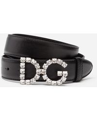 Dolce & Gabbana Calfskin Belt With Dg Crystals Logo - Black