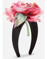 Dolce & Gabbana Silk Headband With Flower - Multicolour