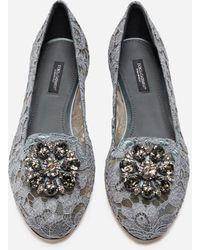 Dolce & Gabbana Slipper In Taormina Lace With Crystals - Grau