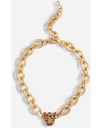Dolce & Gabbana Chain Choker Necklace With Leopard In Crystal Pavé - Metallizzato