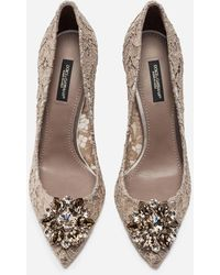 Dolce & Gabbana Pump In Taormina Lace With Crystals - Natur