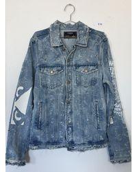 DOMREBEL Flower Jean Jacket With Holes (medium) - Blue