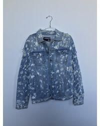 DOMREBEL Distressed Paint Splatter Jean Jacket (medium) - Blue