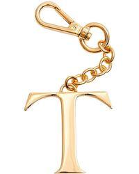Dooney & Bourke Monogram Pendant Key Chain Letter T - Metallic