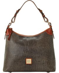 Dooney & Bourke Embossed Lizard Hobo - Gray