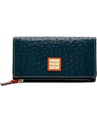 188abf6b1ca9 Lyst - Dooney & Bourke Ostrich Foldover Wallet in Purple