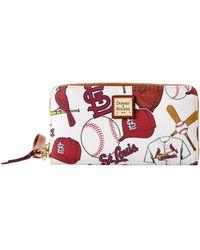 Dooney & Bourke Mlb Cardinals Large Zip Around Wristlet - Red