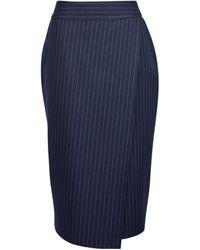 Dorothy Perkins Tall Navy Pinstripe Skirt - Blue