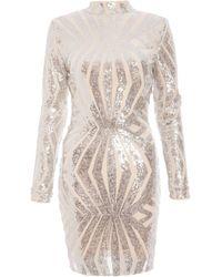 Dorothy Perkins Silver Sequin Bodycon Dress - Metallic