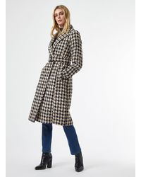 Dorothy Perkins Monochrome Dogtooth Belted Wrap Coat - Black
