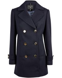Dorothy Perkins Navy Button Front Pea Coat - Blue