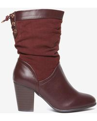 Dorothy Perkins | Wide Fit Burgundy 'kassy' Boots | Lyst