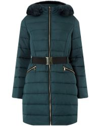 Dorothy Perkins - Teal Jacquard Luxe Padded Coat - Lyst